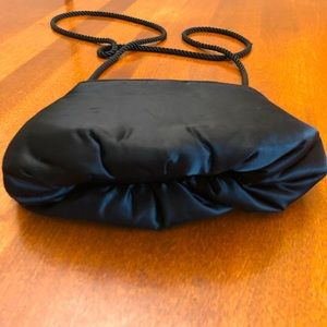 PURSE | Black satin mini crossover twisted rope strap with ruched detail bottom